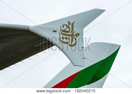 BERLIN GERMANY - JUNE 01 2016: Detail of passenger jet Airbus A380 in the original colors of Emirates Airlines. Exhibition ILA Berlin Air Show 2016