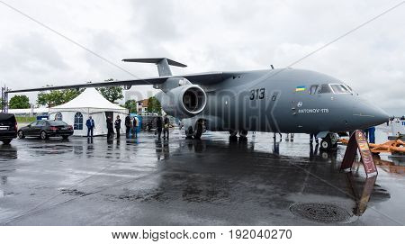 BERLIN GERMANY - JUNE 01 2016: Military transport aircraft Antonov An-178. Exhibition ILA Berlin Air Show 2016