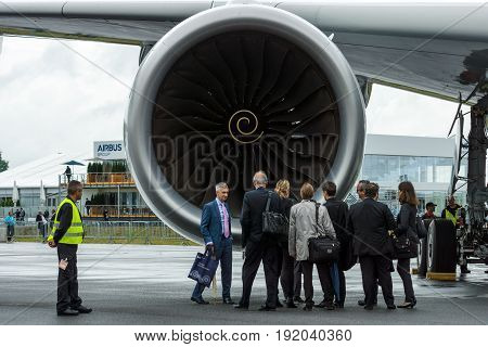 BERLIN GERMANY - JUNE 01 2016: Turbofan engine of the newest airplane Airbus A350 XWB. Exhibition ILA Berlin Air Show 2016