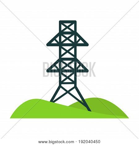 Black high tower for wires installations through whole city on small piece of land with green hills isolated cartoon flat vector illustration on white background. Technologies for humans comfort.