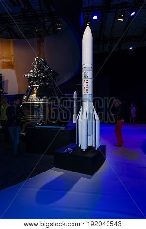 BERLIN GERMANY - JUNE 01 2016: The stand of the European Space Agency. The model launch vehicles Ariane 6. Exhibition ILA Berlin Air Show 2016
