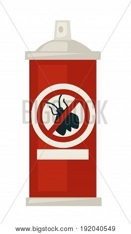Spray against insects in bottle with strikethrough fly silhouette isolated vector illustration. Chemical substance for harmful animals extermination in container with dispenser and indicative sign.