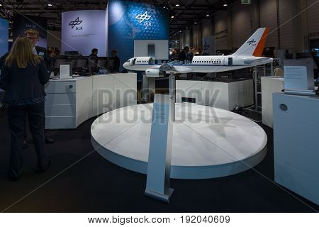BERLIN GERMANY - JUNE 01 2016: A functional model aircraft Airbus A320 ATRA. The stand of German Aerospace Center (DLR). Exhibition ILA Berlin Air Show 2016