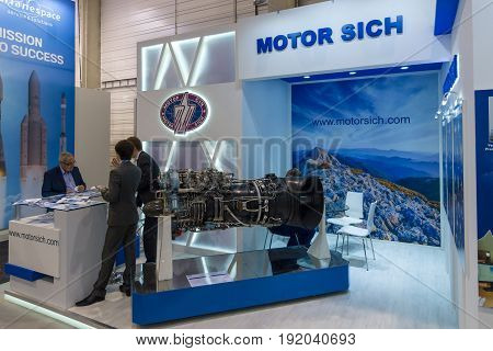 BERLIN GERMANY - JUNE 01 2016: The stand of company Motor Sich (Ukraine). Exhibition ILA Berlin Air Show 2016