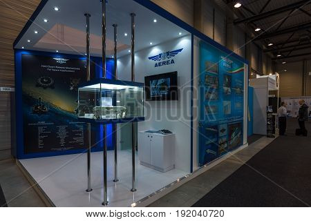 BERLIN GERMANY - JUNE 01 2016: The stand of AEREA S.p.A. AEREA S.p.A. is one of the oldest Italian privately owned companies operating in the aerospace field. Exhibition ILA Berlin Air Show 2016