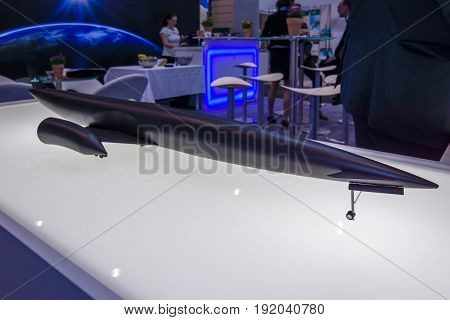 BERLIN GERMANY - JUNE 01 2016: The stand of company Bayern-Chemie (Germany) develops and produces solid fuel propulsion systems for tactical guided missiles. Exhibition ILA Berlin Air Show 2016