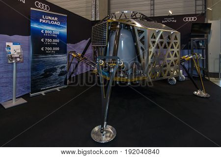 BERLIN GERMANY - JUNE 01 2016: The stand of PT Scientists. The model of the lunar module for scientific research. Exhibition ILA Berlin Air Show 2016.