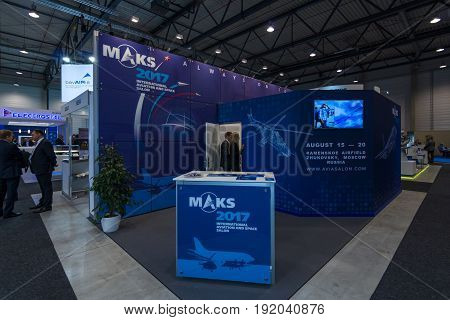 BERLIN GERMANY - JUNE 01 2016: Advertising Aviation and Space Salon MAKS 2017 in Moscow (Russia). Exhibition ILA Berlin Air Show 2016.
