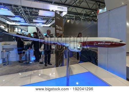 BERLIN GERMANY - JUNE 01 2016: The stand of the Boeing Company. Model of airliner Boeing 787-8 Dreamliner. Exhibition ILA Berlin Air Show 2016.