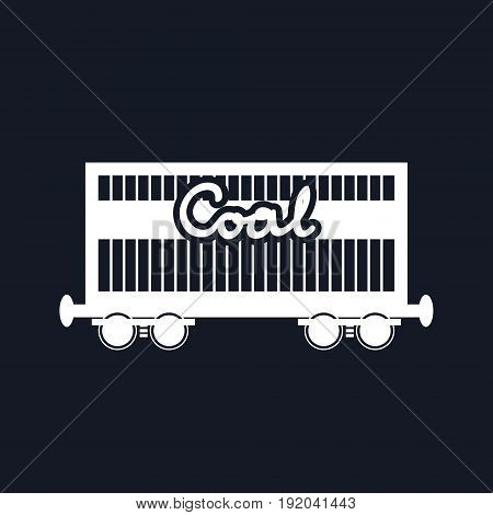 White Silhouette Railway Freight Car on Black Background Railway Wagon for Coal or Sand or other Granular Material Black and White Vector Illustration