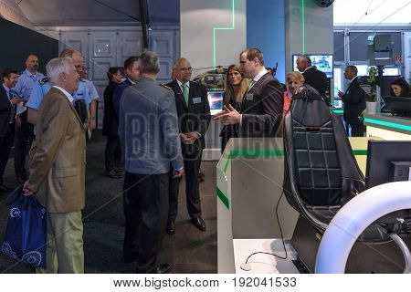 BERLIN GERMANY - JUNE 01 2016: The stand of the company Airbus Defense & Space. Exhibition ILA Berlin Air Show 2016.
