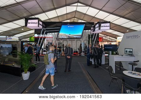 BERLIN GERMANY - JUNE 01 2016: The stand of Roketsan. Roketsan is a major Turkish weapons manufacturer and defense contractor. Exhibition ILA Berlin Air Show 2016.