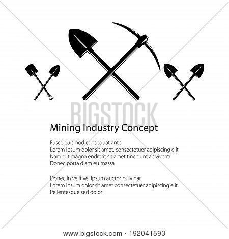 Mining Industry and Construction Concept Crossed Shovel and Pickaxe Crossed Shovels Tools for Excavation Black and White Vector illustration