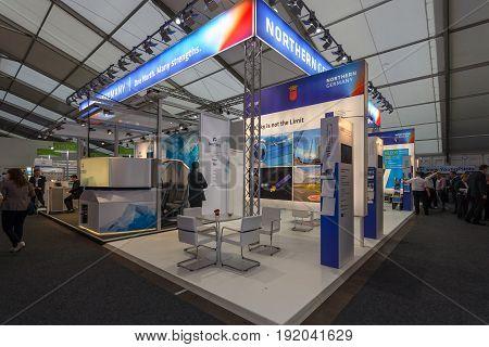BERLIN GERMANY - JUNE 01 2016: The stand of Bremeninvest. Bremeninvest ist the international brand of WFB Wirtschaftsfoerderung Bremen GmbH. Exhibition ILA Berlin Air Show 2016.