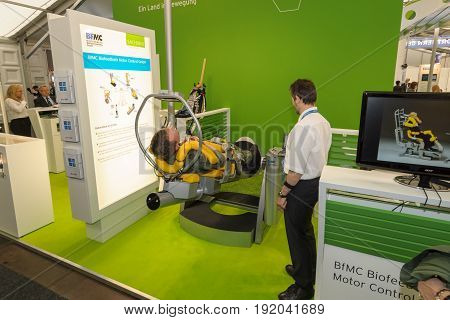BERLIN GERMANY - JUNE 01 2016: The stand of BfMC Biofeedback Motor Control GmbH. Exhibition ILA Berlin Air Show 2016.