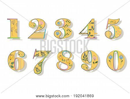 Floral Numerals. Yellow Symbols with colorful decor and Watercolor Flowers. Illustration