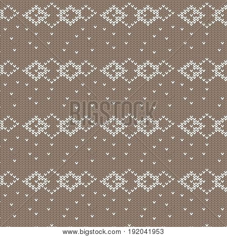 brown and white diamond shape overlapped with spot knitting pattern background vector illustration image
