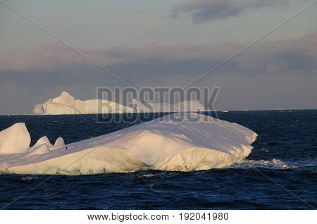 Giant tabular icebergs floating in the Weddell Sea, in Antarctica.