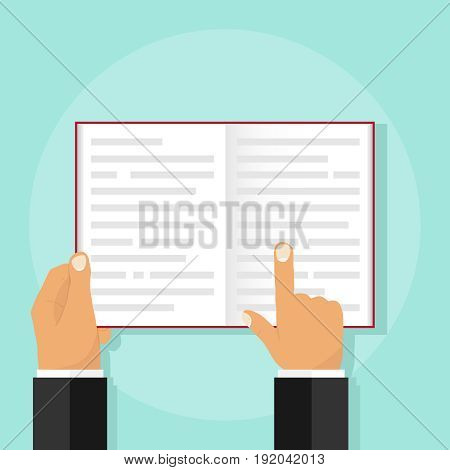 An open book in the hands of a man. Flat design vector illustration vector.
