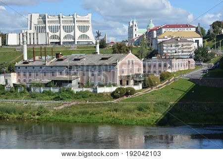 View of the old factory in the center of Grodno. Belarus.