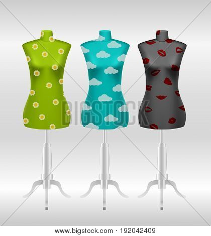 Set of female tailors dummy mannequins on white background