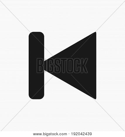 Media player previous button flat vector icon.