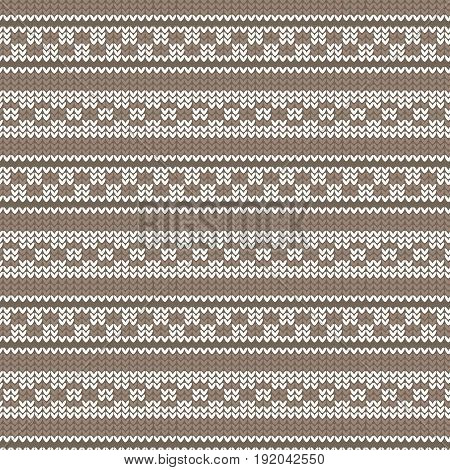 brown shade and white striped with circle loop and brick shape striped knitting pattern background vector illustration image