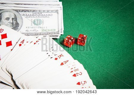 The Poker table green  surface image closeup