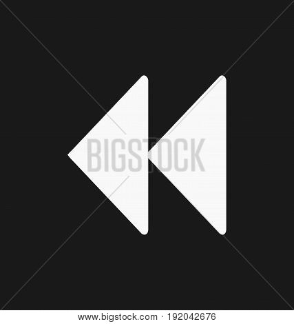 Media player rewind button flat vector icon.