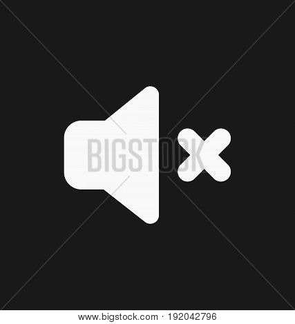 Media player mute button flat vector icon.