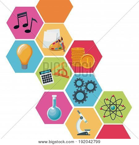 color geometric abstract figures with icons academic knowledge vector illustration
