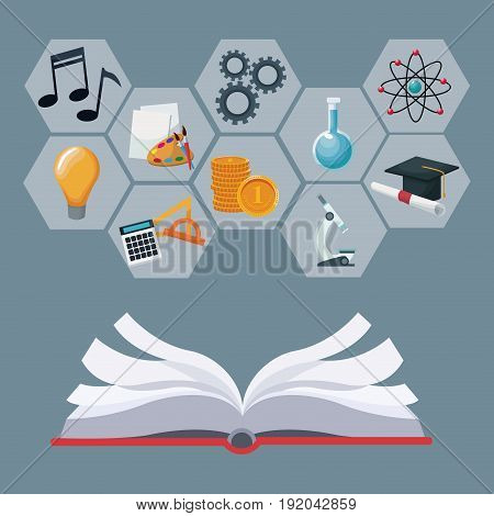 open book with gray color geometric abstract figures with icons academic knowledge vector illustration