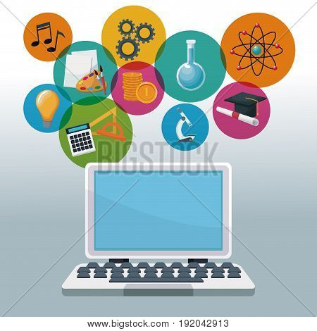 color background tech laptop with icons academic knowledge vector illustration