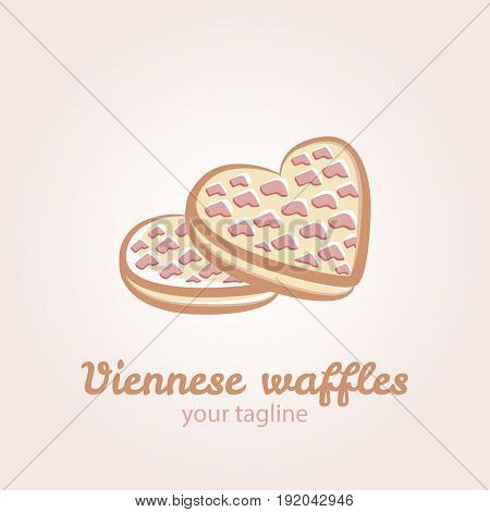 Illustration of Viennese waffles in the shape of a heart with strawberry jam and caramel topping. Vector logo template for waffle cafe restaurant menu or banner design.