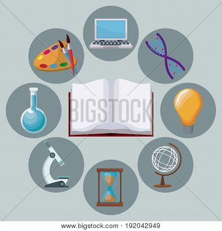 color background open book with icons academic knowledge around vector illustration