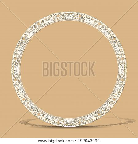 carved vintage frame made of paper for picture or photo with shadow on gray background
