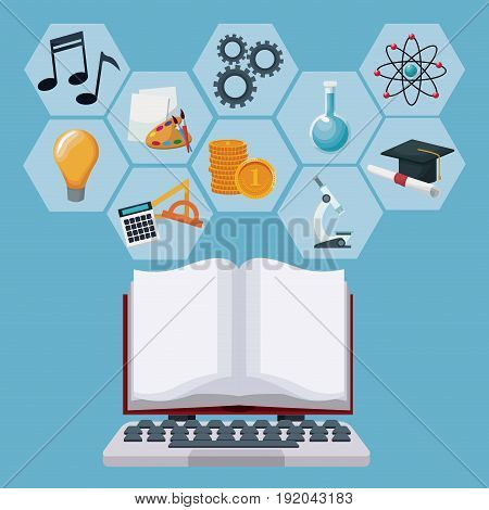 tech laptop and display open book with gray color geometric abstract figures icons academic knowledge vector illustration