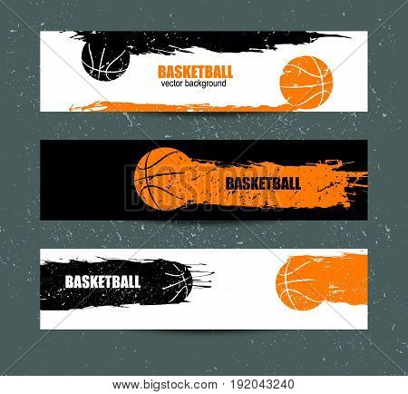 Basketball banner, set of sports templates for the tournament, abstract ball, grunge style, retro background.