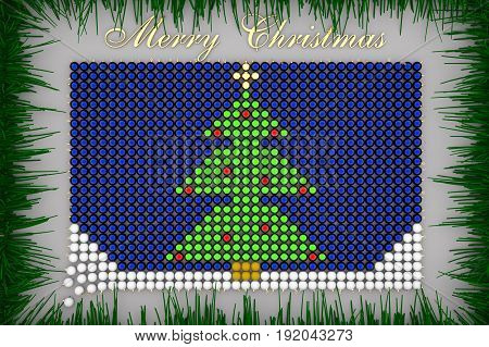 Xmas Tree Shaped From Christmas Balls