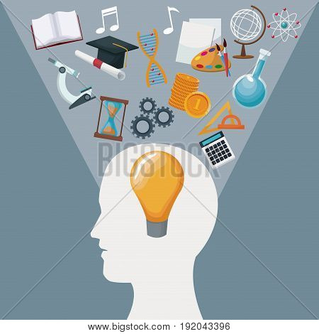 color background human head with solution idea inside and light halo icons knowledge vector illustration