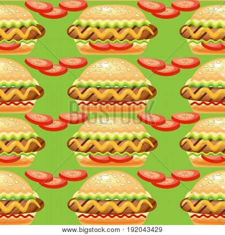 Vector Seamless pattern with big hot dog and tomato slices for national hot dog s day.