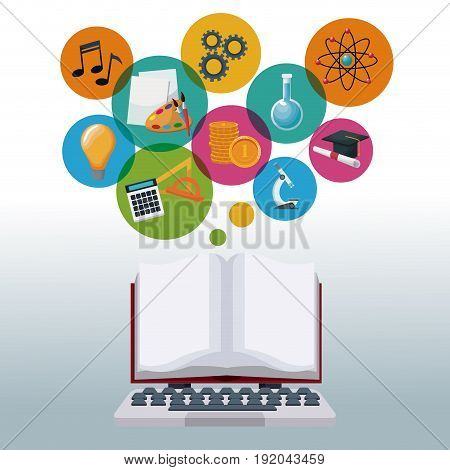 tech laptop and display open book with bubbles icons academic knowledge vector illustration