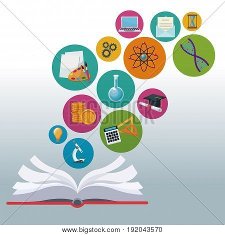color background open book with bubbles icons academic knowledge vector illustration