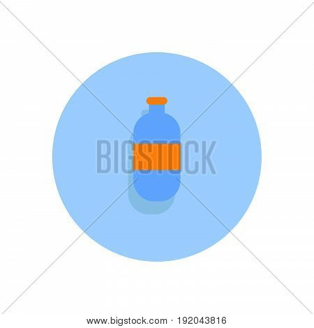 Plastic Water Bottle Flat Icon. Round Colorful Button, Circular Vector Sign, Logo Illustration.