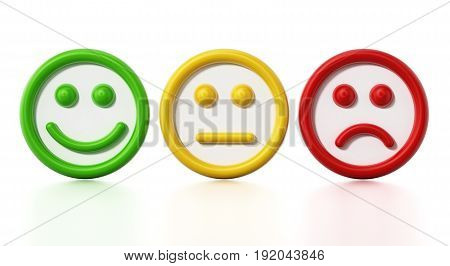 Green, yellow and red faces showing satisfaction levels. 3D illustration.