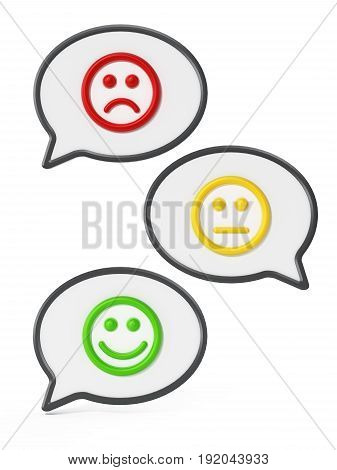 Green, yellow and red faces inside speech balloons showing satisfaction levels. 3D illustration.
