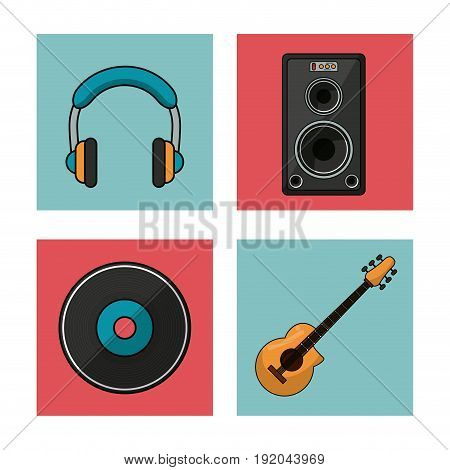 white background with colorful squares with musical instruments and playback elements vector illustration