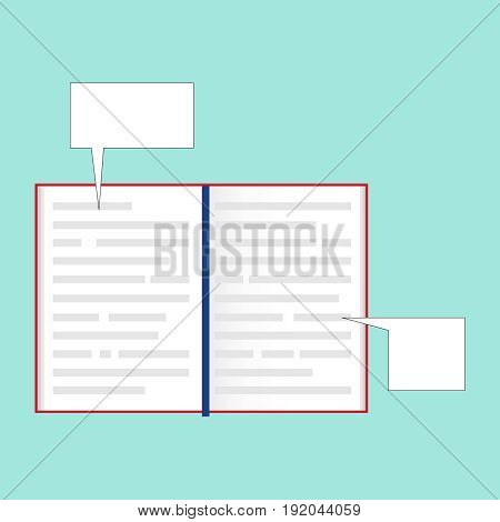 Open book with callouts on the sides. Text bubbles. Flat design vector illustration vector.