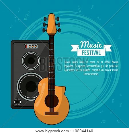 poster music festival in blue background with guitar and speaker box vector illustration