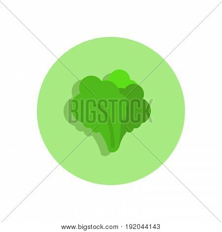 Leafy Greens Flat Icon. Round Colorful Button, Circular Vector Sign, Logo Illustration.
